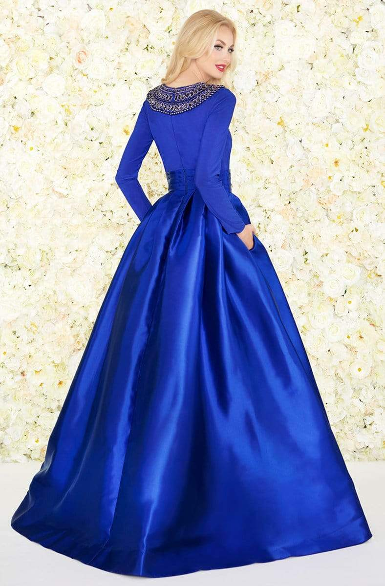 Mac Duggal - 12093R Embellished Long Sleeves Ballgown Ball Gowns
