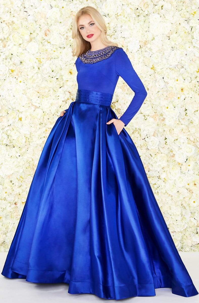 Mac Duggal - 12093R Embellished Long Sleeves Ballgown Ball Gowns 4 / Midnight Blue