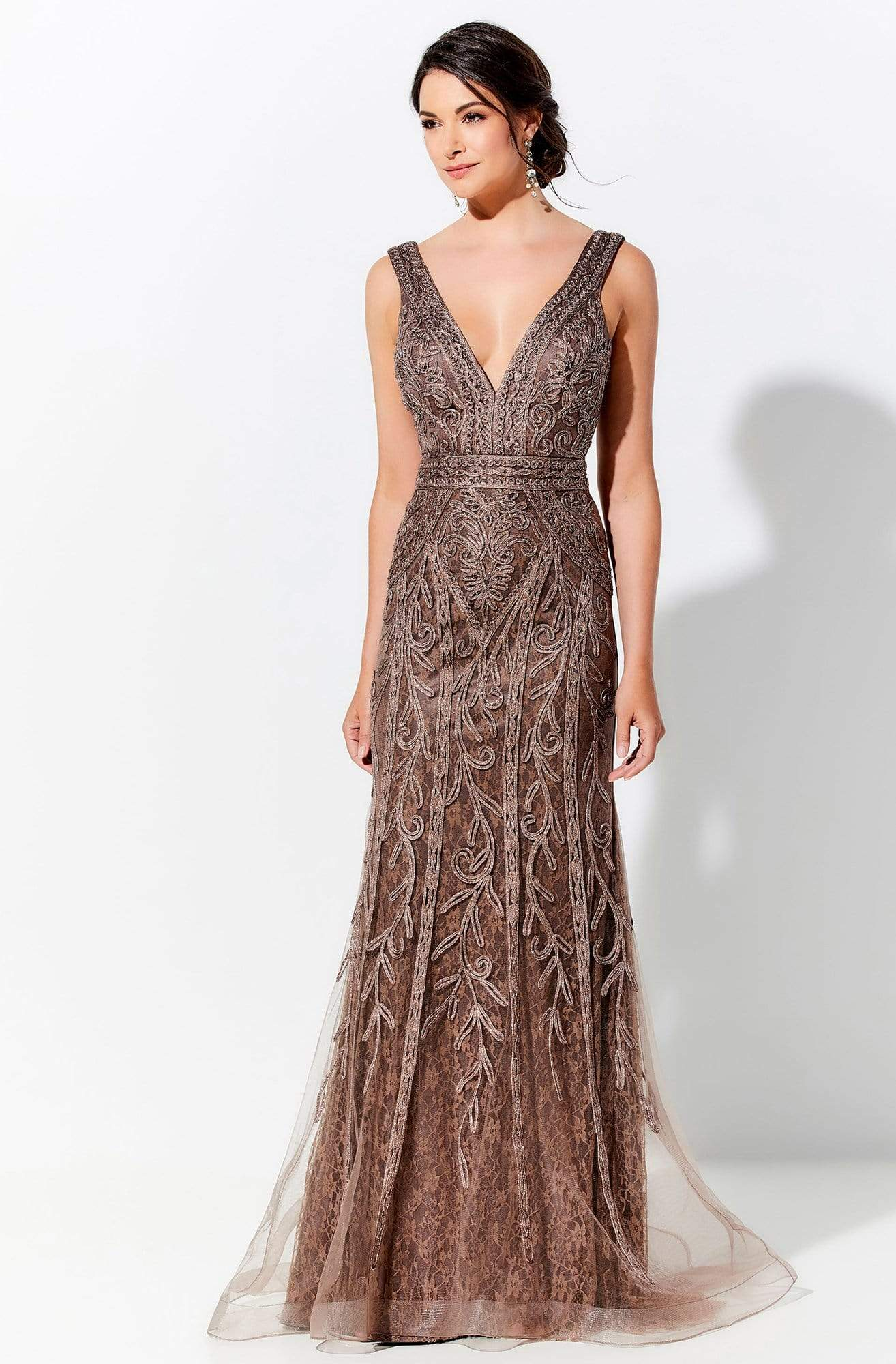 Ivonne D by Mon Cheri - 120D03 Plunging V-Neck Metallic Lace Dress In Brown