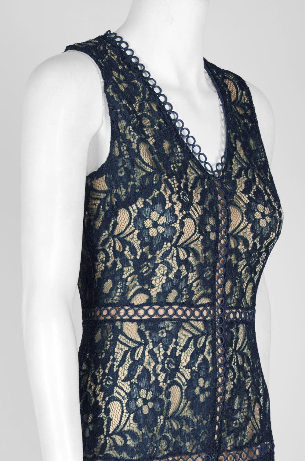 Taylor - 1219M Sleeveless Floral Lace Handkerchief Hem Dress In Blue