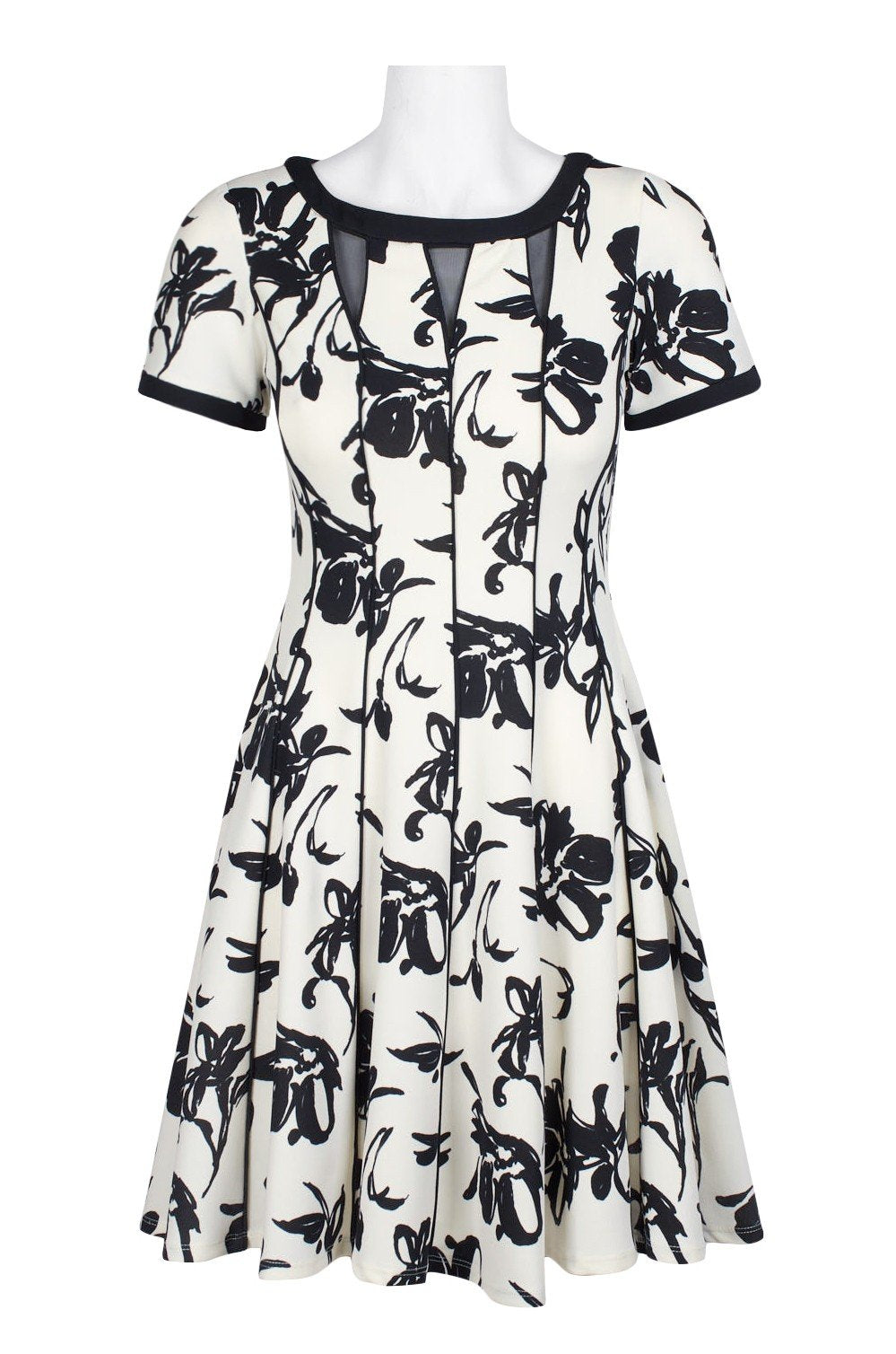 Taylor - 1228M Floral Print Bateau A-line Dress In White and Black