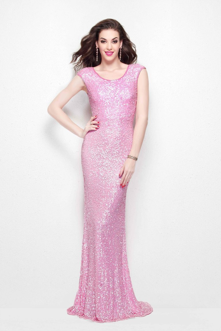 Primavera Couture - 1254 Sequined Scoop Neck Fitted Dress In Pink