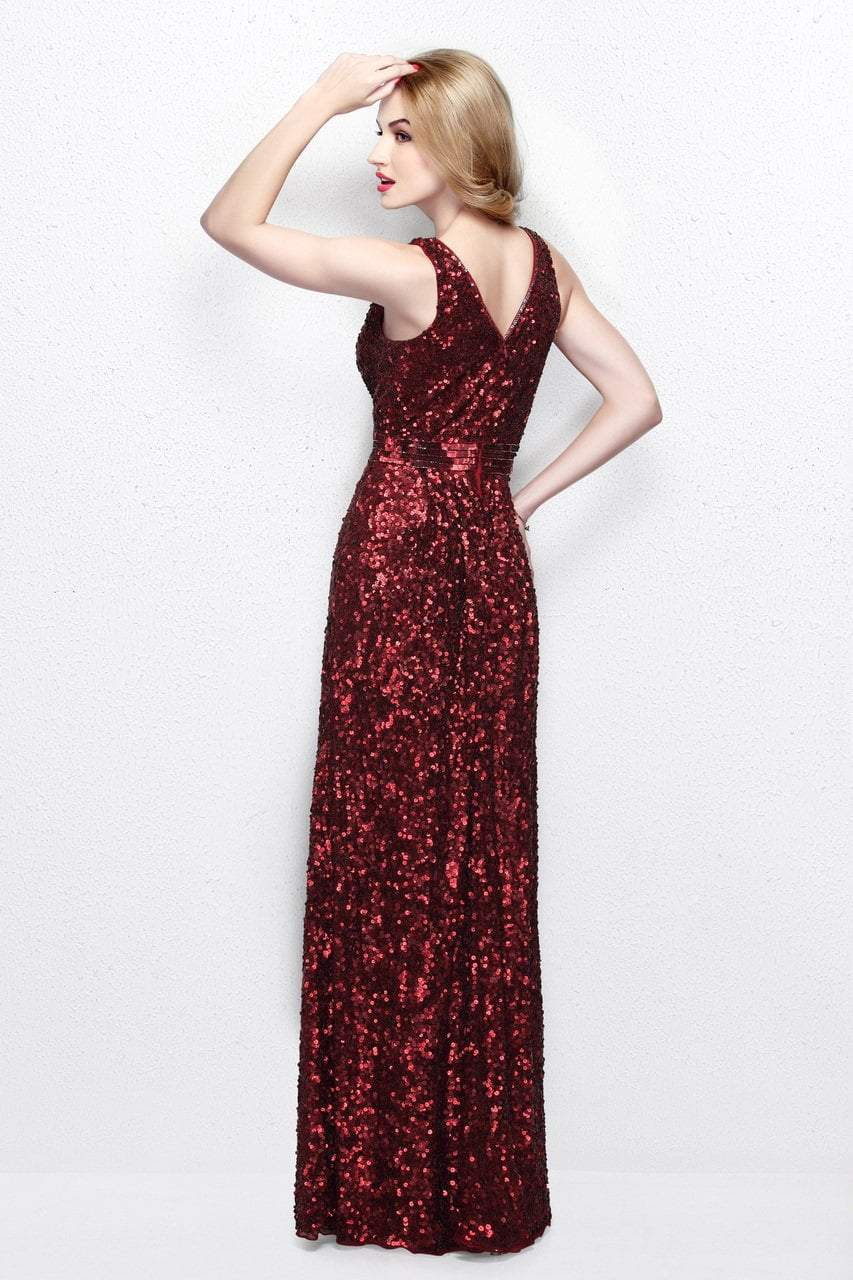 Primavera Couture - Astounding V Neck Full Sequins Long Sheath Dress 1257 in Red