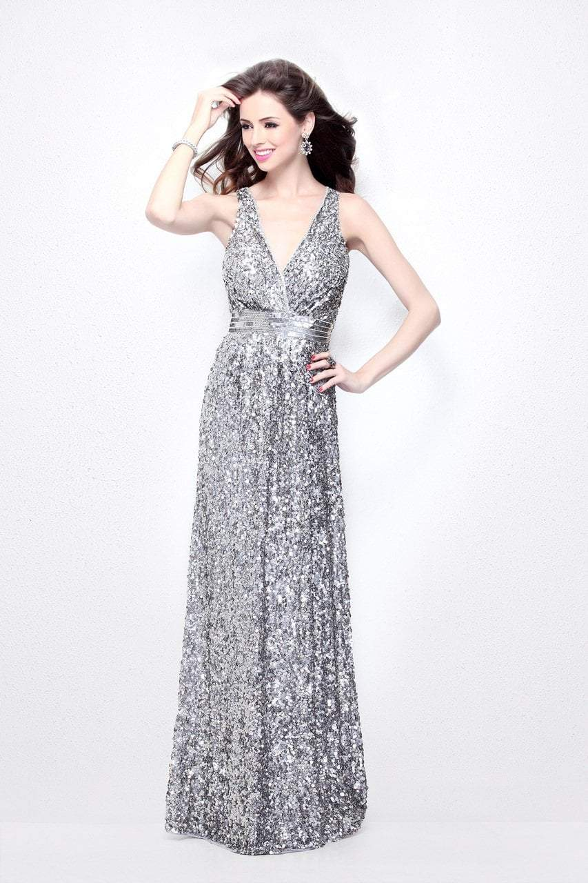 Primavera Couture - Astounding V Neck Full Sequins Long Sheath Dress 1257 in Silver