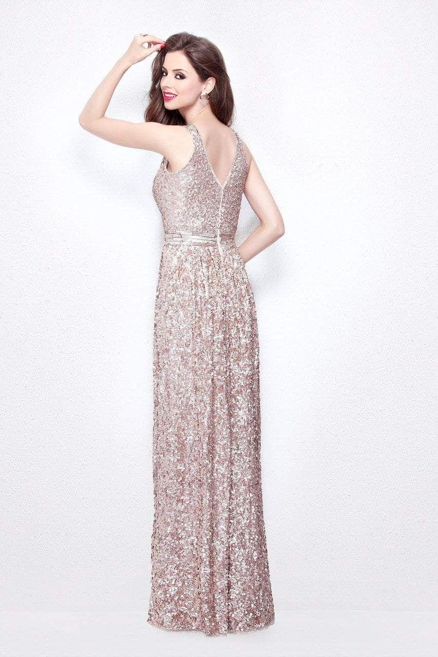 Primavera Couture - Astounding V Neck Full Sequins Long Sheath Dress 1257 in Pink and Gold