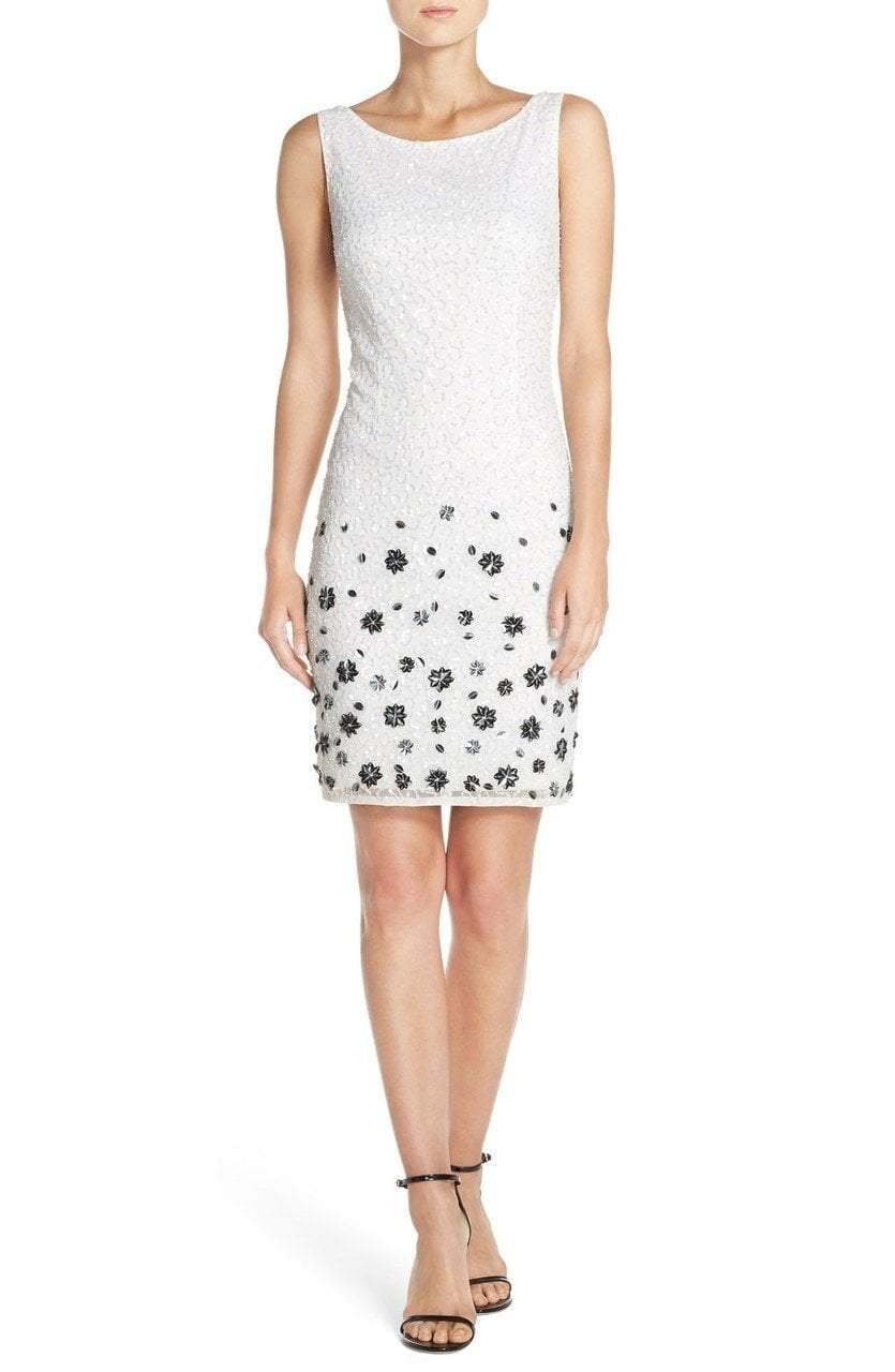 Adrianna Papell - 41931450 Sequin Bateau Sheath Dress in White