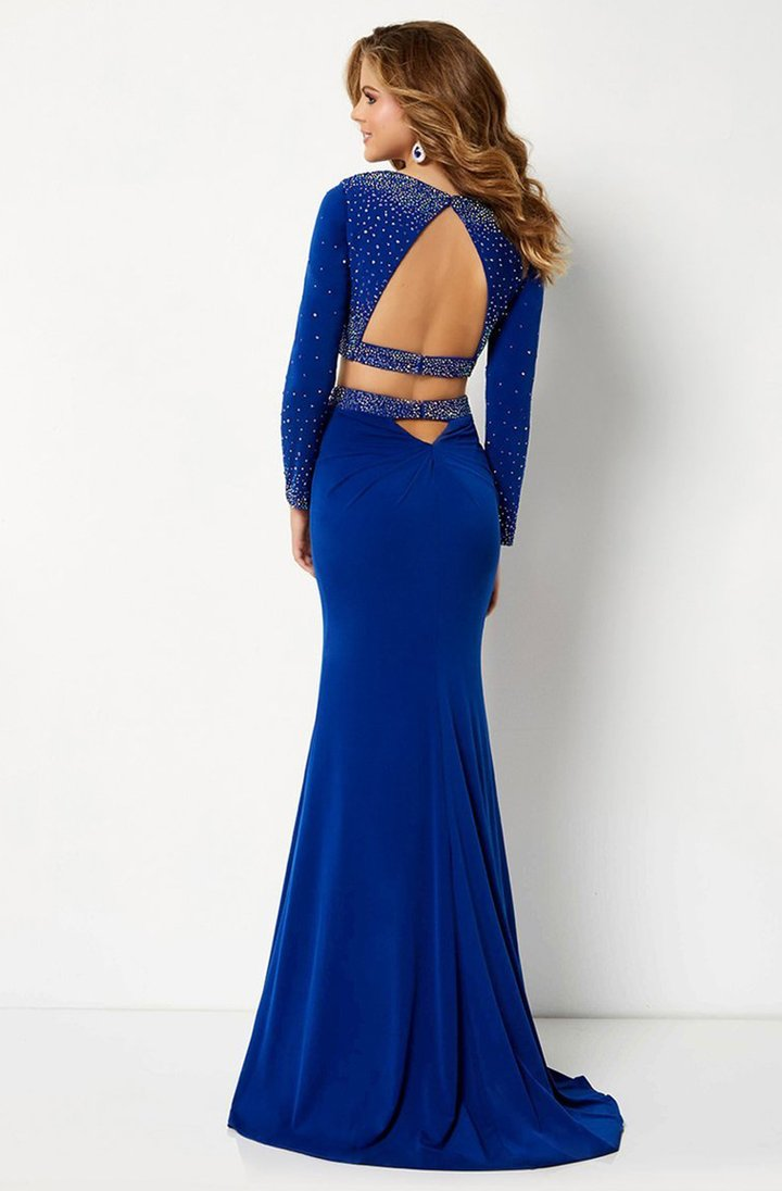 Studio 17 - 12665SC Jewel Studded Long Sleeve Croptop Jersey Gown