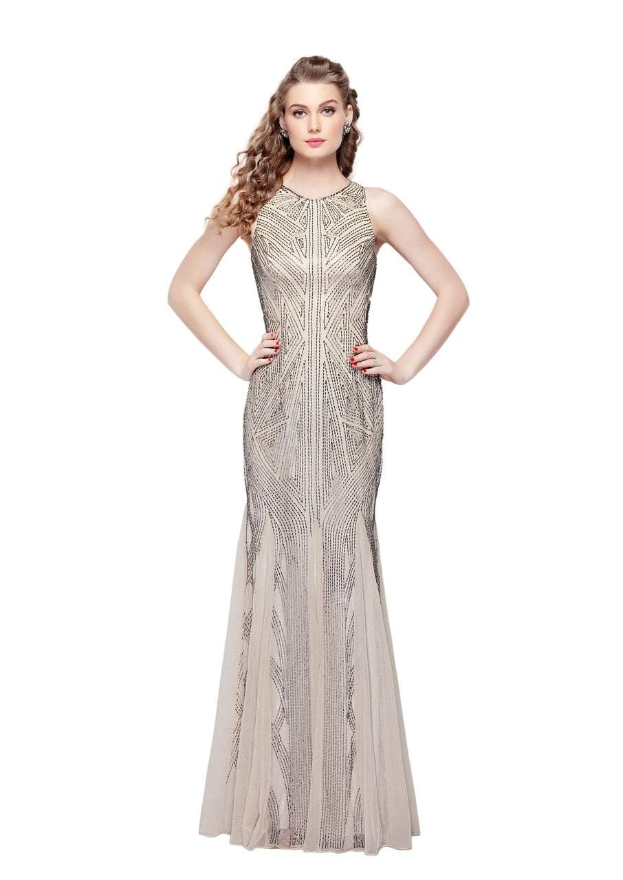 Primavera - 1271 Geo-Outlined Sleeveless Sheath Gown in Neutral