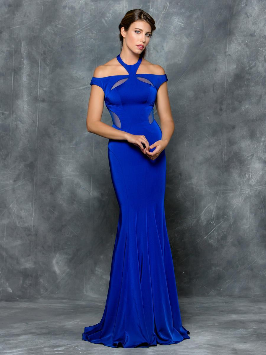 Colors Dress - 1704 Illusion Halter/Off shoulder Neck Sheath Dress in Blue