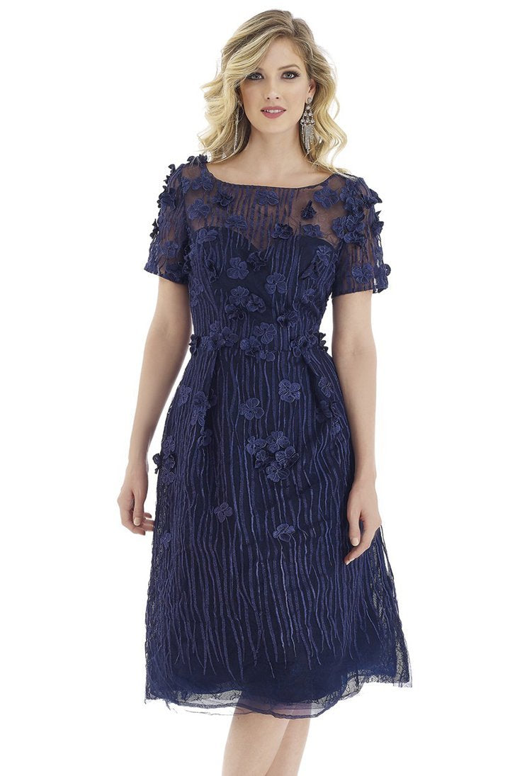 Gia Franco - Short Sleeve Floral Appliqued A-Line Dress 12950 In Blue