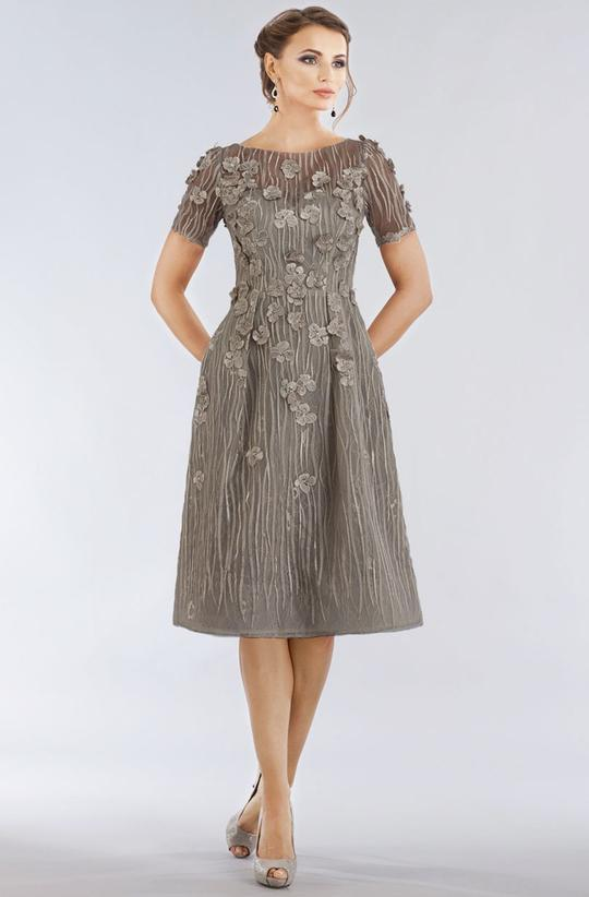 Gia Franco - 12950 Short Sleeve Floral Appliqued A-Line Dress In Gray