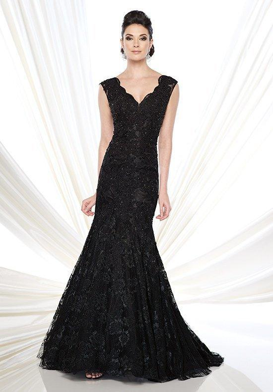 Ivonne D for Mon Cheri - 215D08 Scalloped Lace Mermaid Evening Gown  in Black