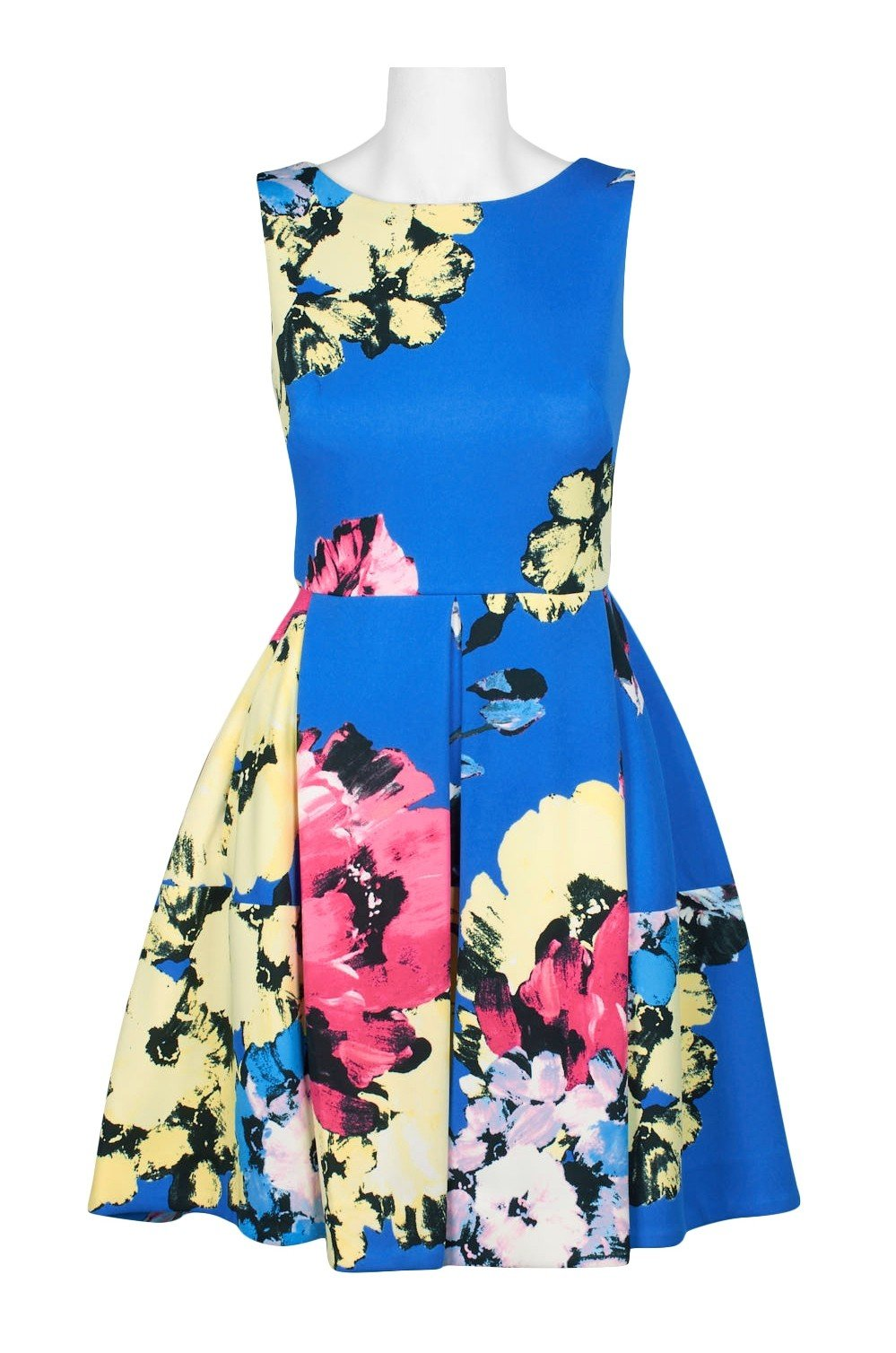 Taylor - 1307M Sleeveless Floral Print Fit and Flare Short Scuba Dress In Blue and Floral