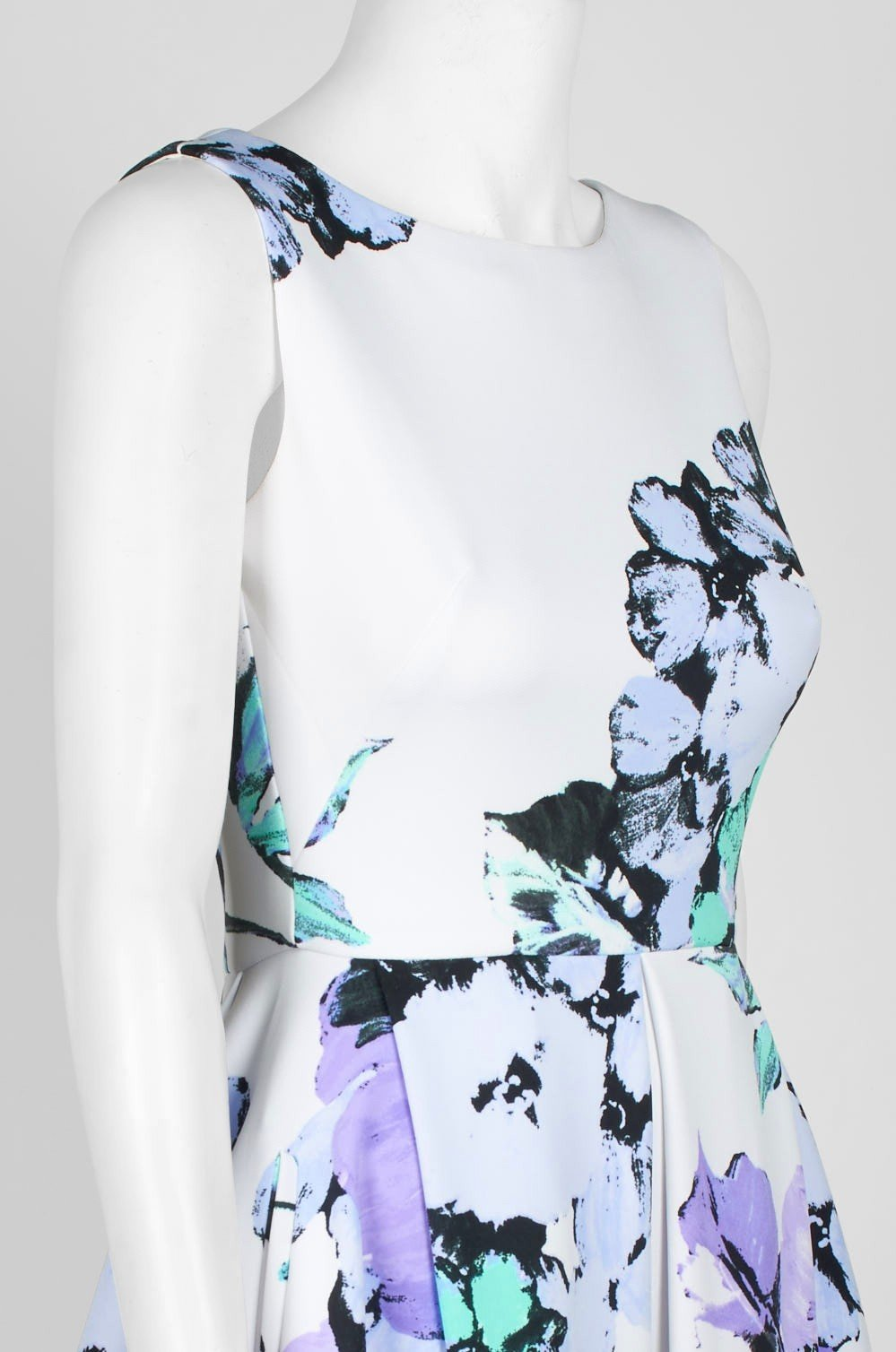 Taylor - 1307M Sleeveless Floral Print Fit and Flare Short Scuba Dress In White and Purple