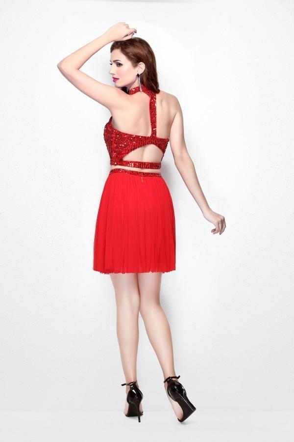 Primavera Couture - 1315 Beaded Halter Neck Two-Piece Dress in Red