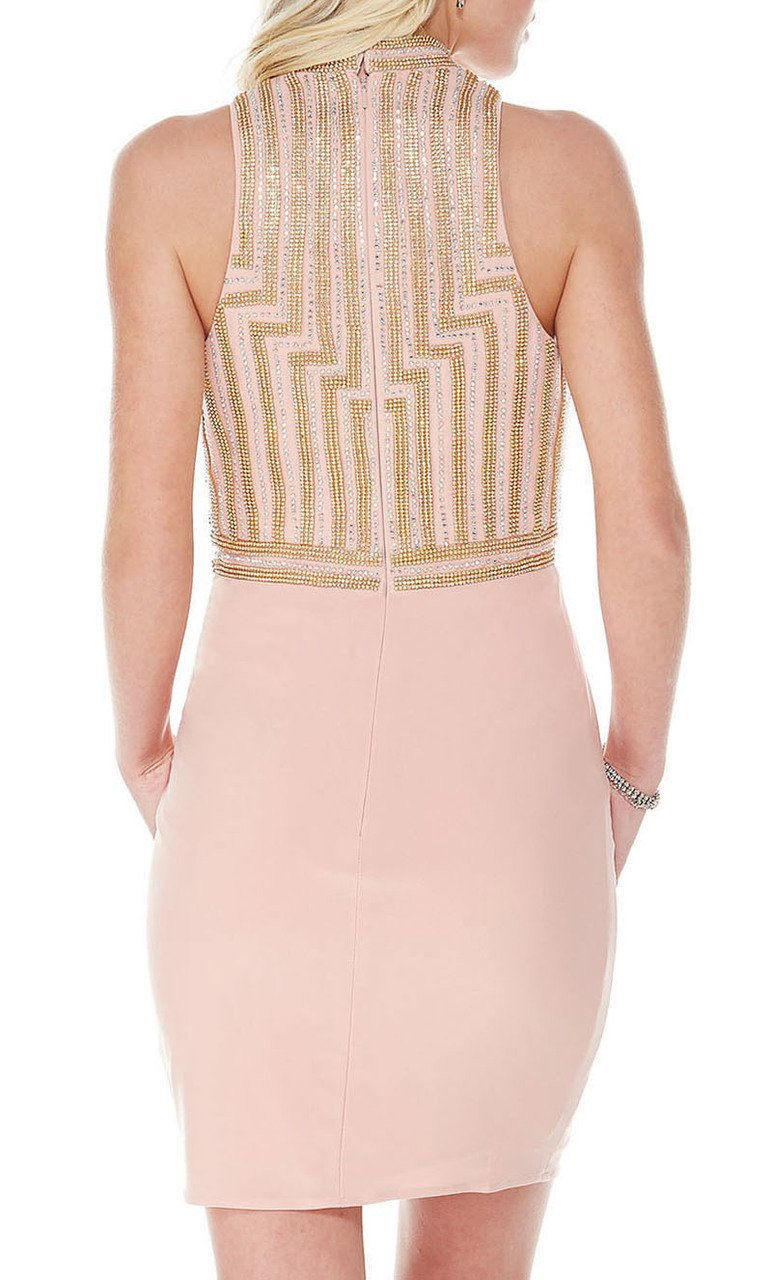 Alyce Paris - 1340 Embellished High Neck Jersey Fitted Dress In Neutral