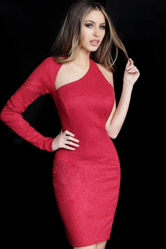 Jovani - 1347 Single Long Sleeve Sheath Dress In Red