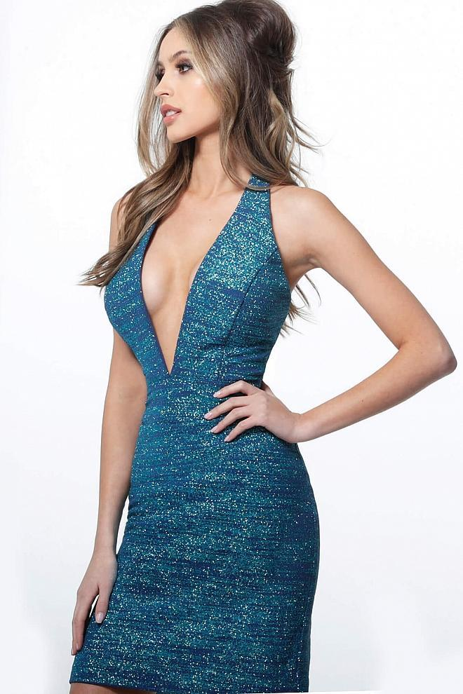 Jovani - 1352 Plunging Halter Neck Glitter Sheath Cocktail Dress in Blue