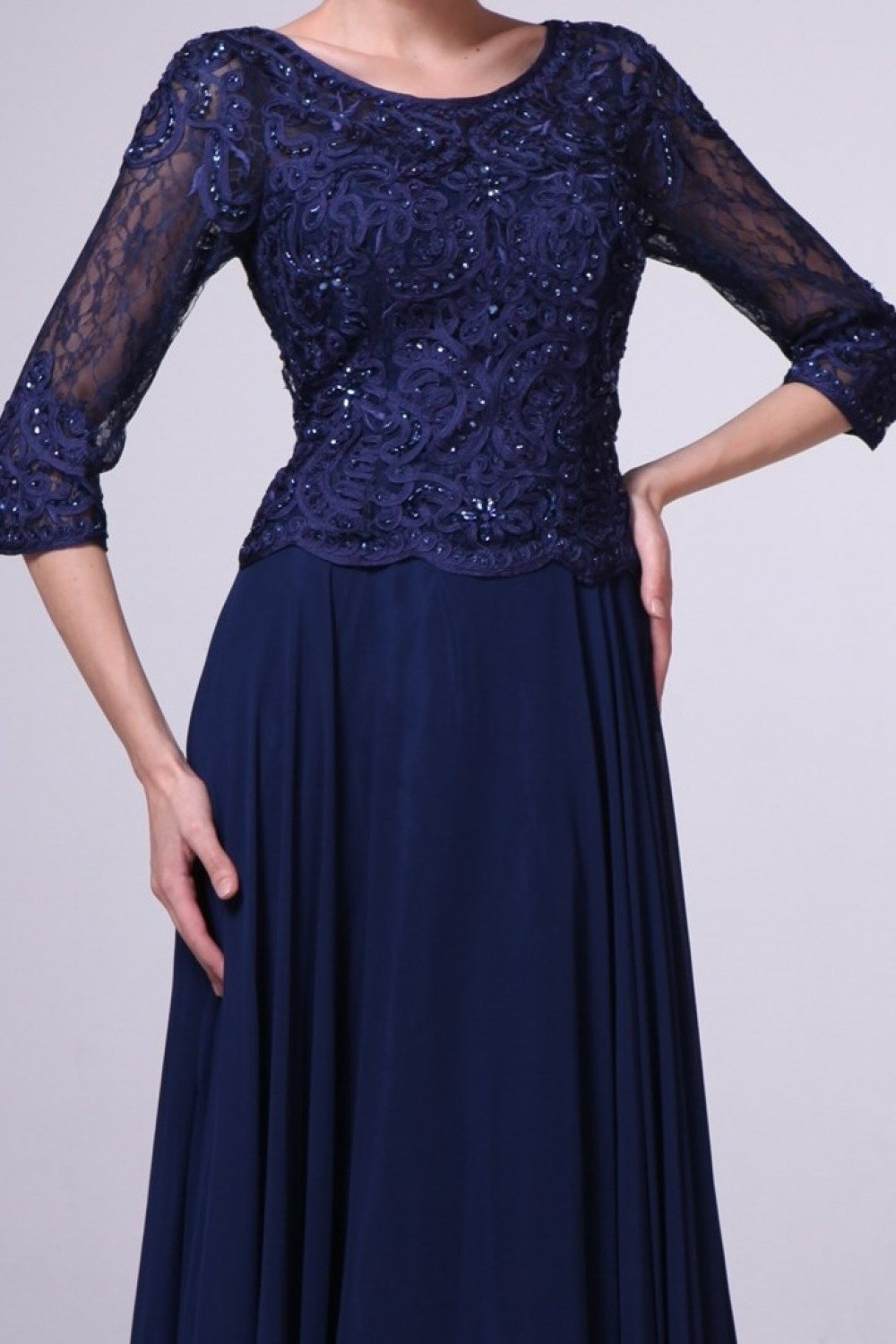 Cinderella Divine - 14327SC Lace Scoop A-Line Evening Dress