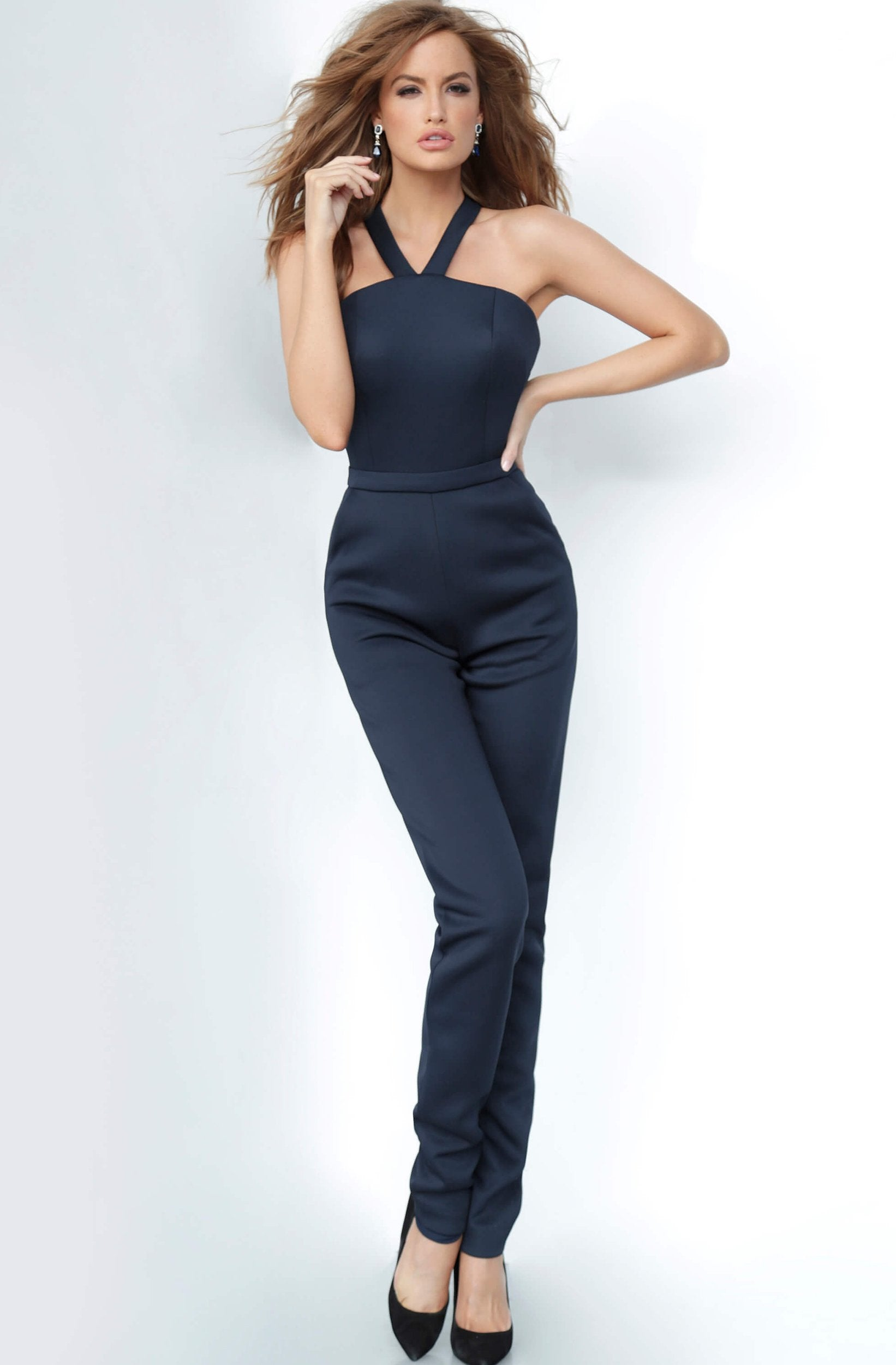 Jovani - 1458 Halter V Strapped Sleeveless Scuba Fitted Jumpsuit in Blue