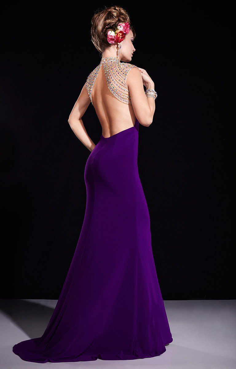 Panoply - 14673 Embellished High Mermaid Dress In Purple