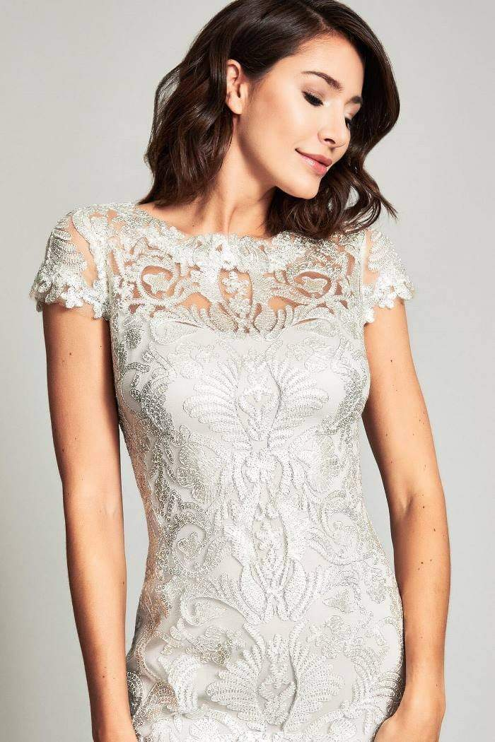 Tadashi Shoji - Embroidered Lace Bateau Fitted Dress Wedding Guest