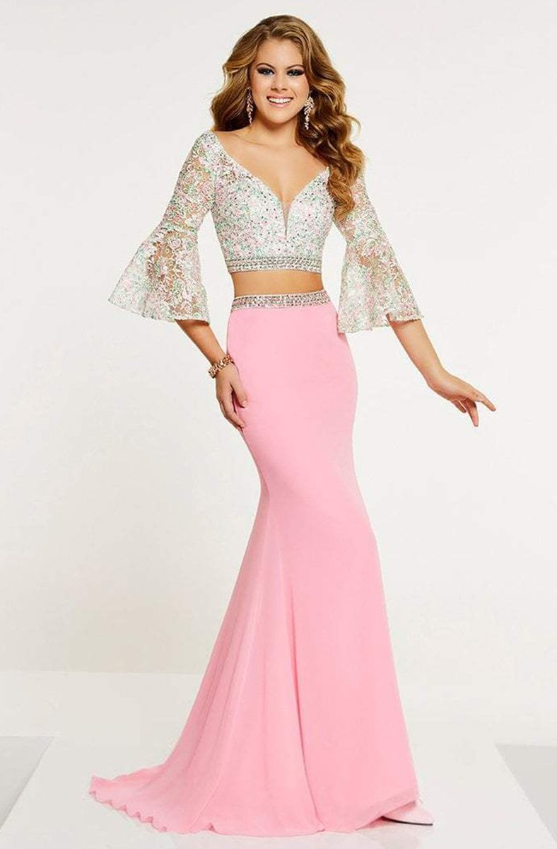 Panoply - 14883 Two Piece Beaded Lace Belle Sleeve Dress In Pink and Multi-Color