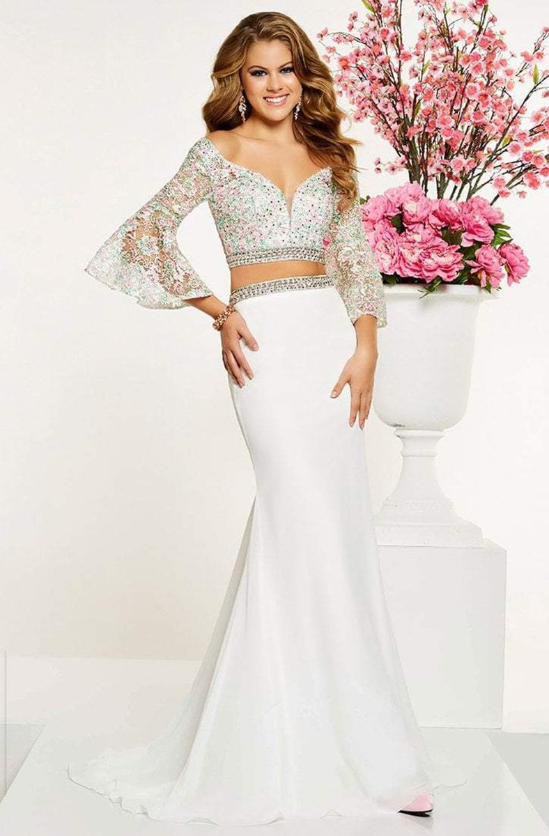Panoply - 14883 Two Piece Beaded Lace Belle Sleeve Dress In White and Multi-Color