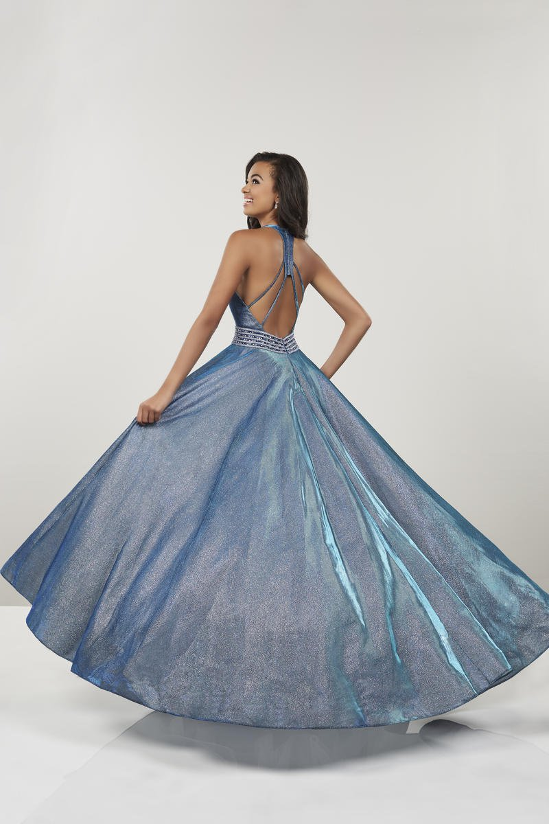 Panoply - 14926 Plunging V-Neck Embellished Ballgown In Blue