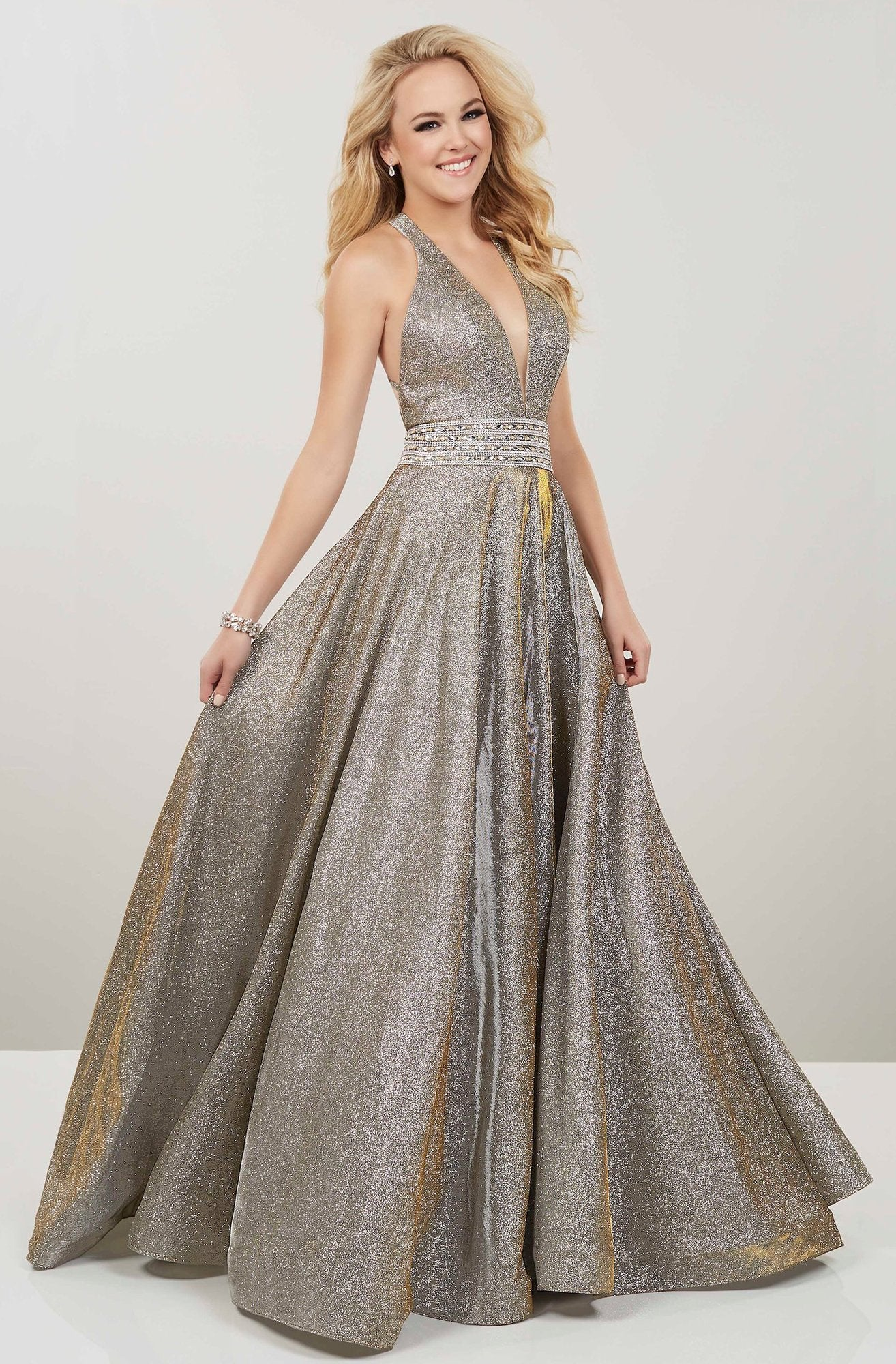 Panoply - 14926 Plunging V-Neck Embellished Ballgown In Gold