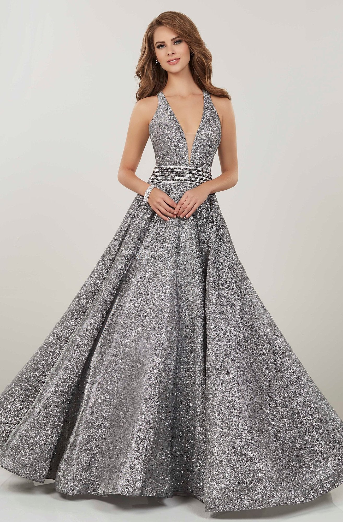 Panoply - 14926 Plunging V-Neck Embellished Ballgown In Gray