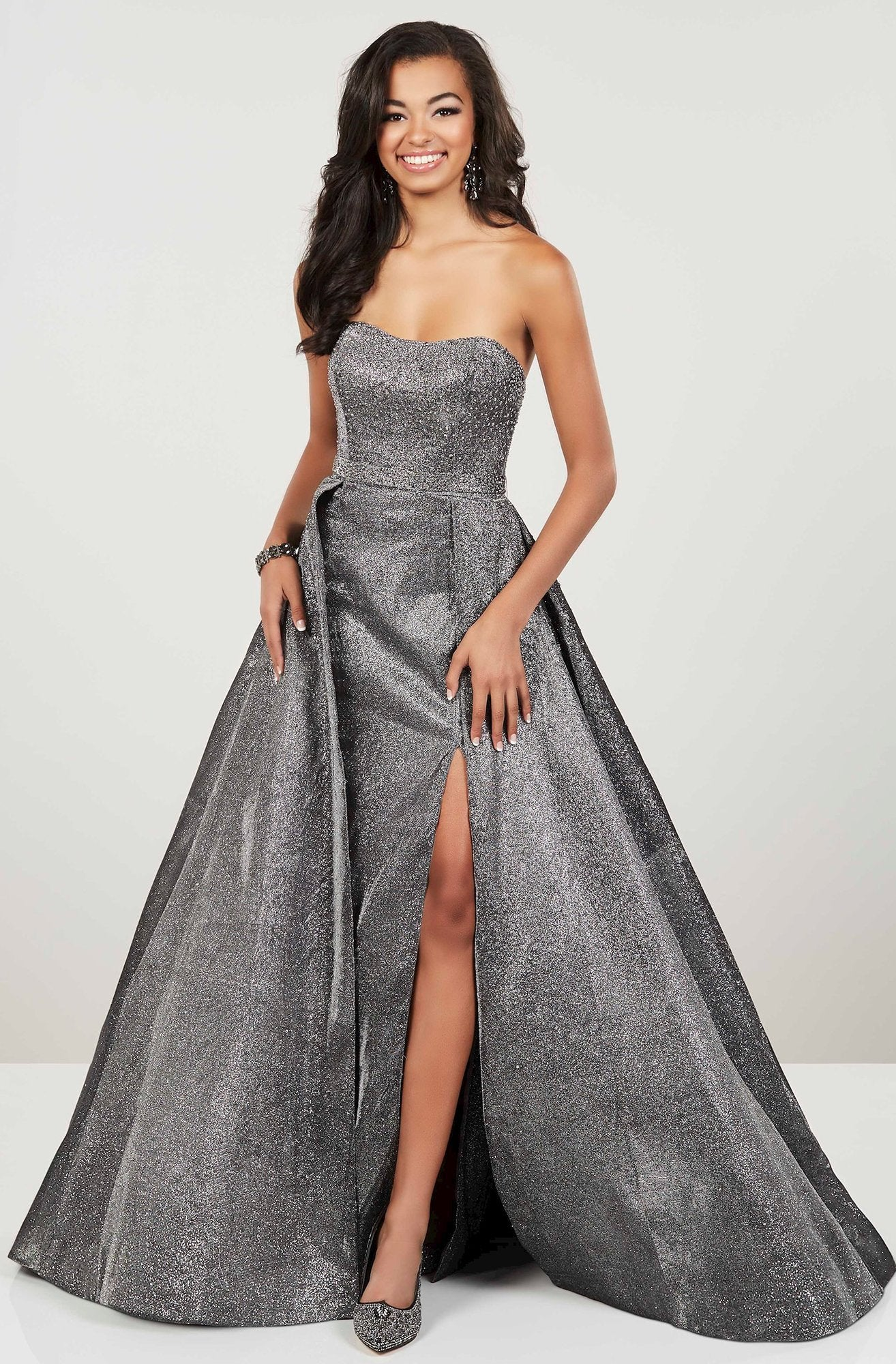 Panoply - 14943SC Strapless Jeweled Metallic Overskirt Gown