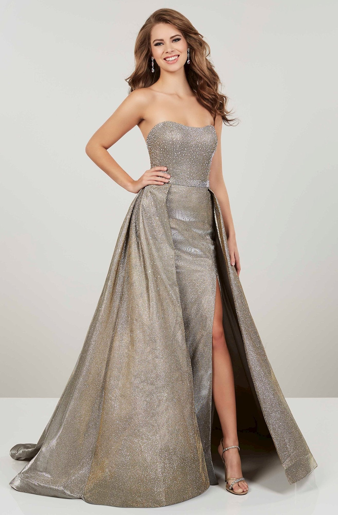 Panoply - Beaded Sweetheart Gown With Overskirt 14943 In Gold