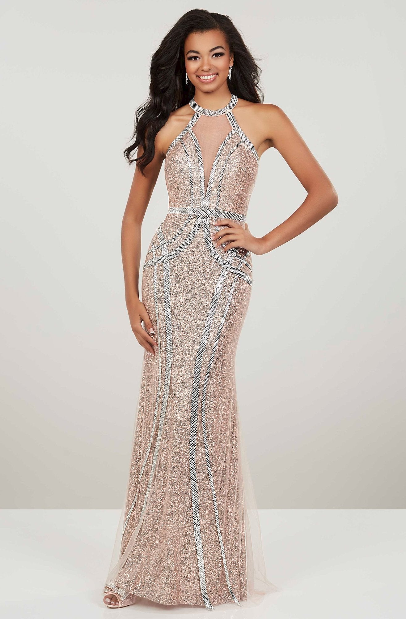 Panoply - 14949 Beaded High Halter Trumpet Dress In Gold