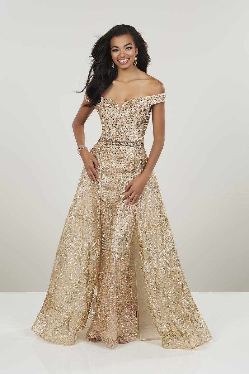 Panoply - Beaded Off-Shoulder Dress With Removable Overskirt 14955  In Gold