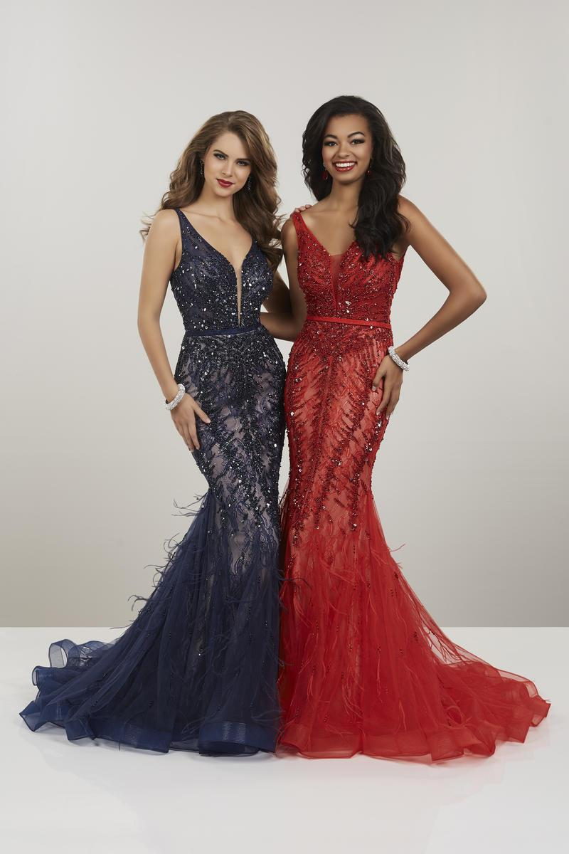 Panoply - 14957 Beaded Lace V-neck Tulle Mermaid Dress In Blue and Red