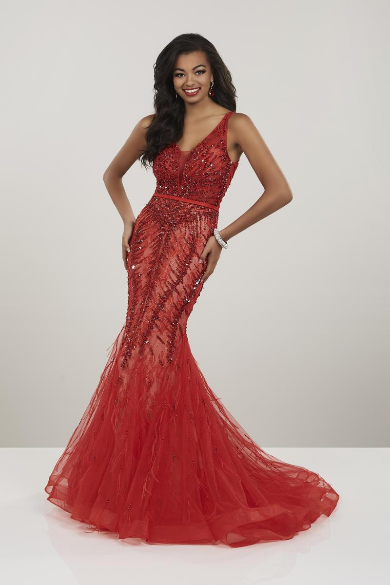 Panoply - 14957 Beaded Lace V-neck Tulle Mermaid Dress In Red