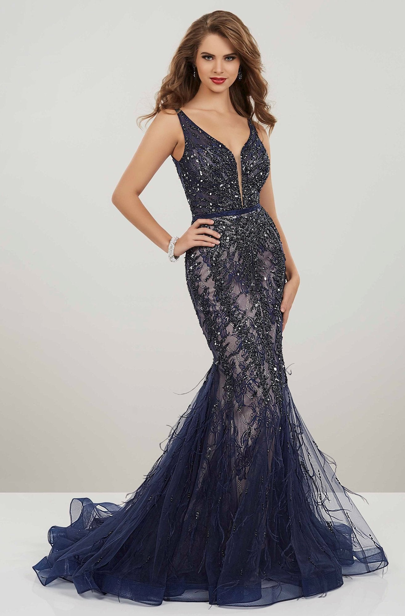 Panoply - 14957 Beaded Lace V-neck Tulle Mermaid Dress In Blue