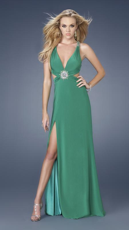 La Femme - Long Dress with Side Cut Outs and Slit 15015 In Green
