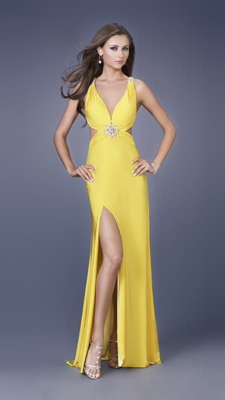 La Femme - Long Dress with Side Cut Outs and Slit 15015 In Yellow