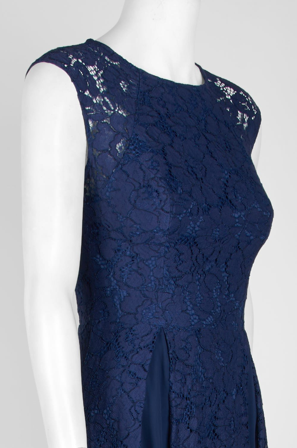Aidan Mattox - 151A12840 Sheer Cap Sleeve Lace Godet A-Line Dress In Blue
