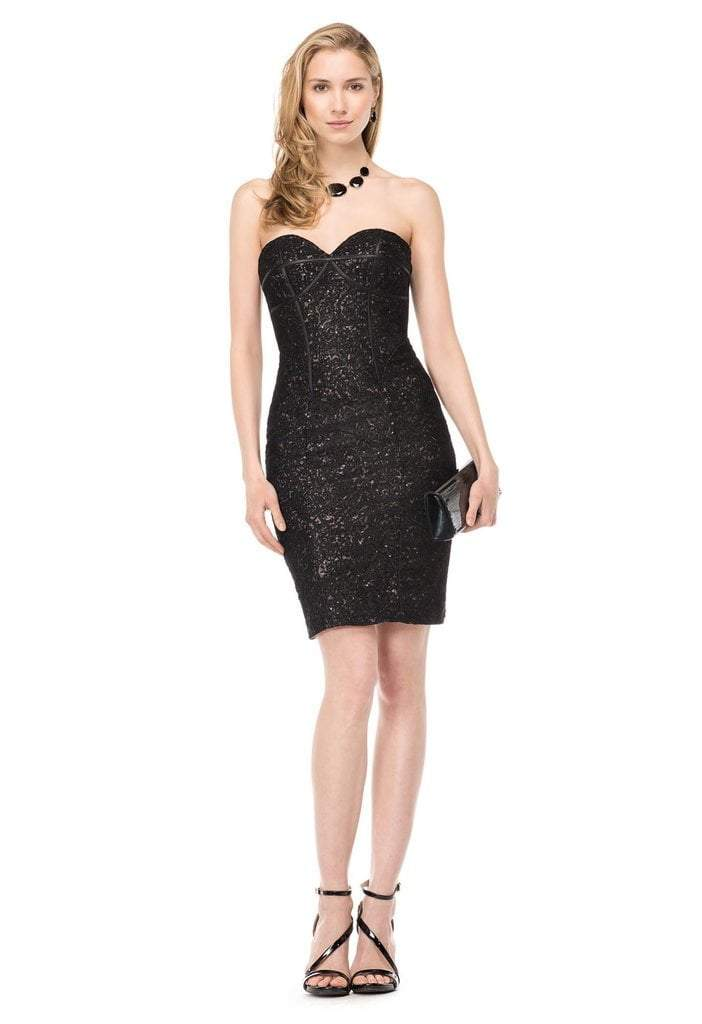 Colors Dress - 1522 Strapless Sequined Cocktail Dress In Black