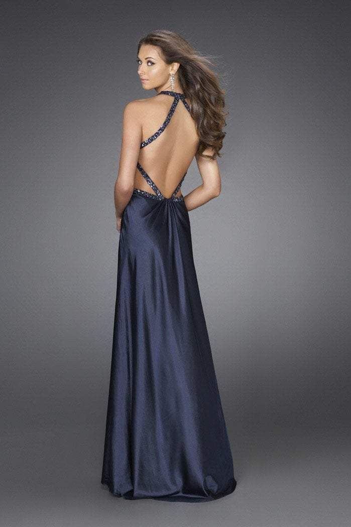 La Femme - Embellished Halter Neck Evening Dress 15232 in Blue