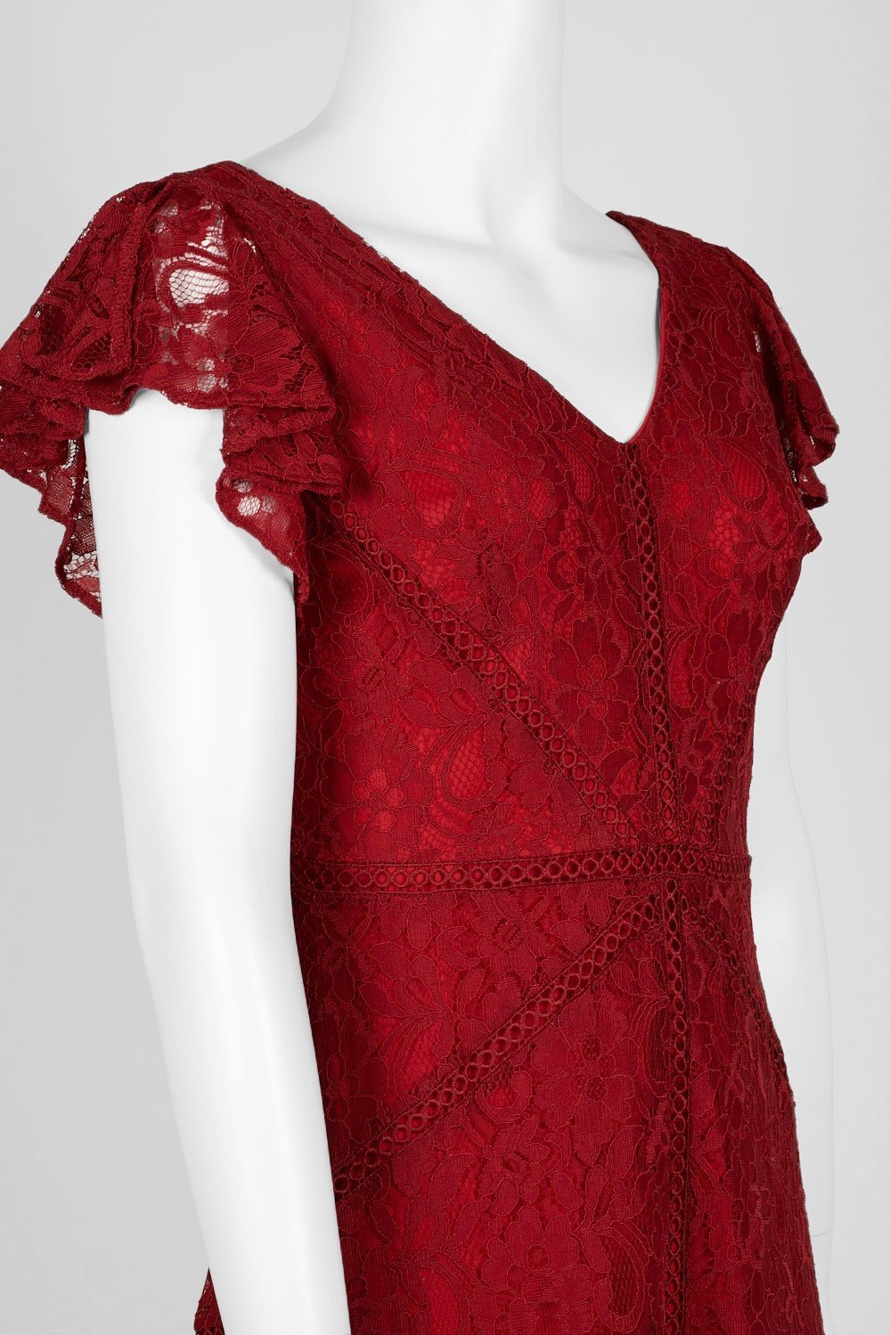Taylor - 1529M Knee Length Flutter Sleeve Lace A-Line Dress In Red