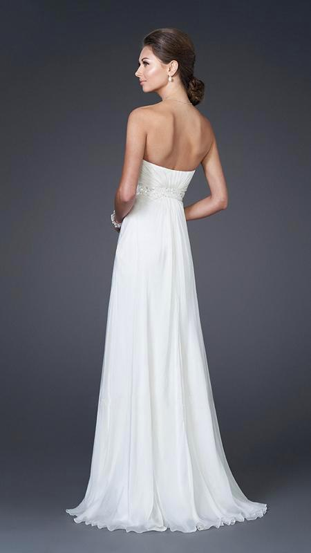 La Femme - 15368 Diamond Embellished Waist Strapless Sweetheart Gown In White