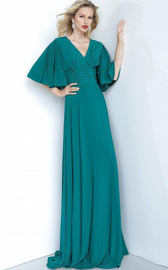 Jovani - 1547 V-Neck Jersey Maxi Dress In Green