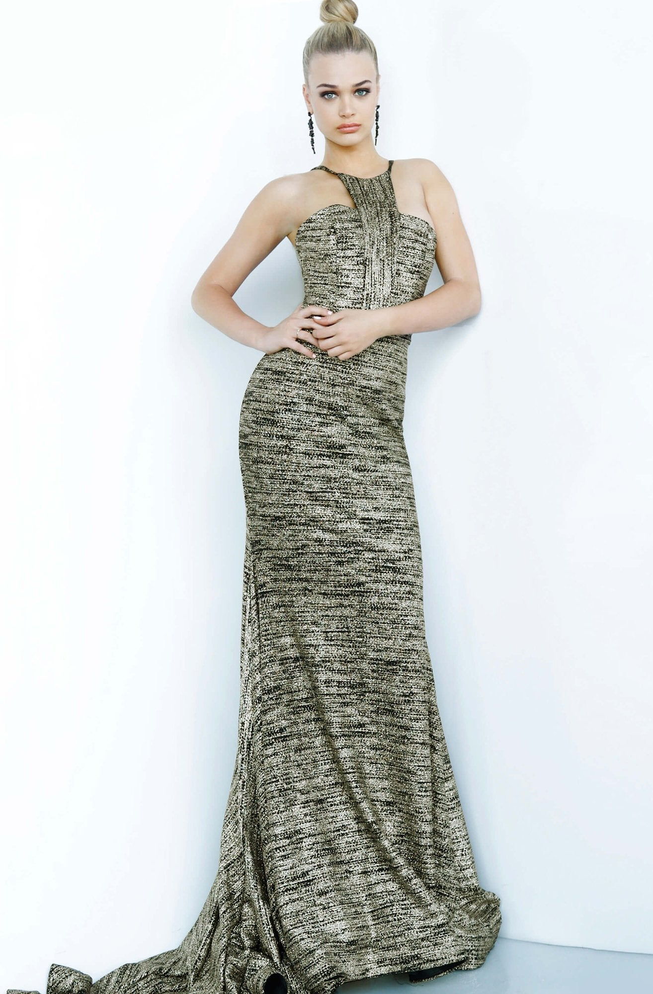 Jovani - 1559 Cut in Shoulders Halter Neck Glitter Knit Prom Dress In Black and Gold