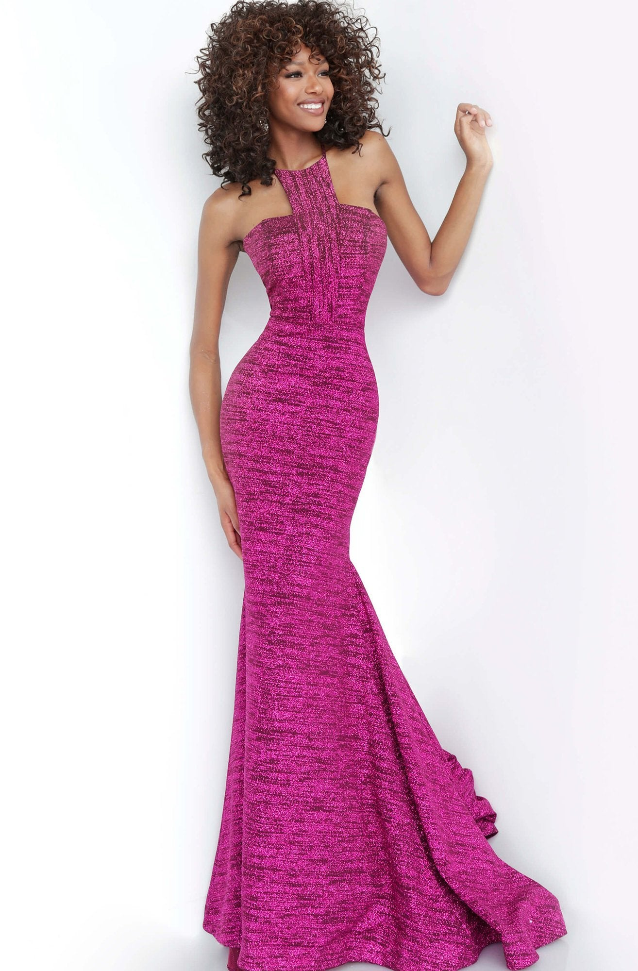 Jovani - 1559 Cut in Shoulders Halter Neck Glitter Knit Prom Dress In Purple and Pink