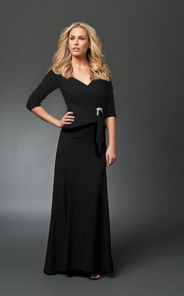 Daymor Couture - Ruched V-Neck A-Line Gown 1023 in Black