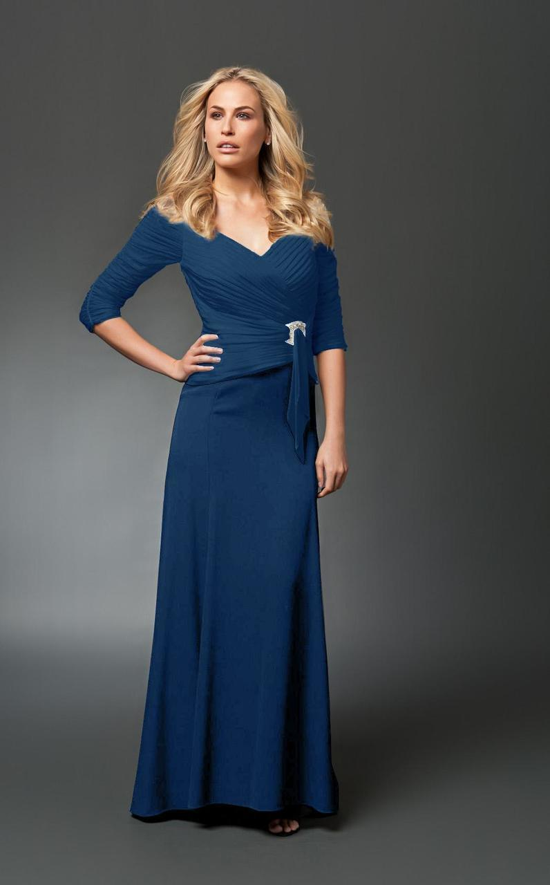 Daymor Couture - 1023 Brooch Accented Ruched A-Line Gown  In Blue